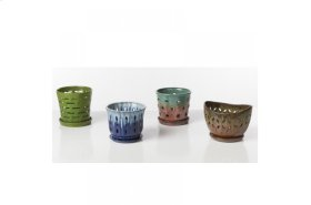 Orchid Pot with attached saucer - Set of 4