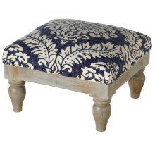 Blue Damask Block Print Stool (Each One Will Vary)
