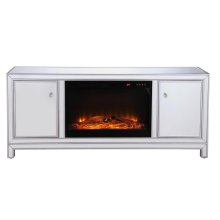 60 in. mirrored TV stand with wood fireplace insert in antique silver