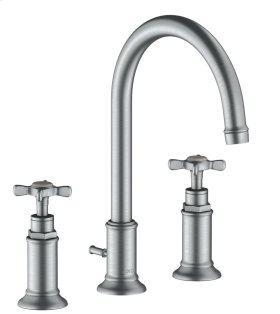 Brushed Chrome 3-hole basin mixer 180 with cross handles and pop-up waste set