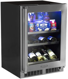 """24"""" Beverage Center with Display Wine Rack - Stainless Frame, Glass Door With Lock - Integrated Left Hinge"""