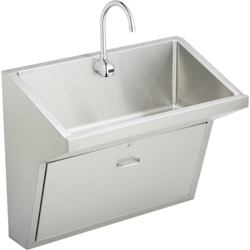 "Elkay Stainless Steel 33"" x 16-13/16"" x 30"", Wall Hung Single Station Surgeon Scrub Sink Kit"