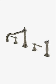 Julia Three Hole High Profile Kitchen Faucet, Metal Lever Handles and Spray STYLE: JUKM19