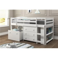Pine Ridge White Low Loft Bed with Slide, Bookcase & Storage with options: Twin, With Chest, Bookcase, Toy Box, and Slide