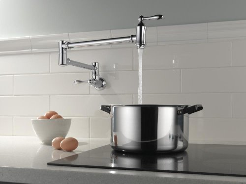 Polished Nickel Traditional Wall Mount Pot Filler