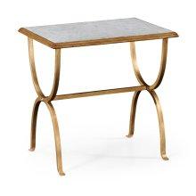 glomise & Gilded Iron Rectangular Side Table