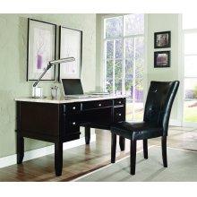 "Monarch White Marble Top Writing Desk, 52"" x 28"" x 31"""