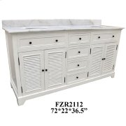 """Cottage White 4 Louvered Doors 4 Drawer 72"""" Double Vanity Sink Product Image"""