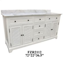 """Cottage White 4 Louvered Doors 4 Drawer 72"""" Double Vanity Sink"""
