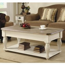 Coventry Two Tone - Lift Top Rectangular Coffee Table - Weathered Driftwood/dover White Finish