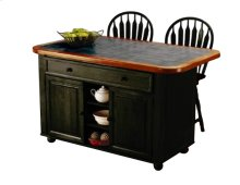 Sunset Trading 3pc Antique Black Kitchen Island Set with Inlaid Gray Granite Top