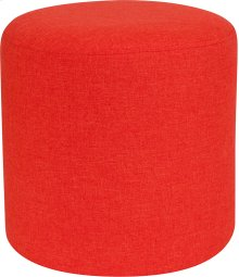 Barrington Upholstered Round Ottoman Pouf in Orange Fabric