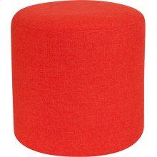 Barrington Upholstered Round Ottoman Pouf in Orange Fabric