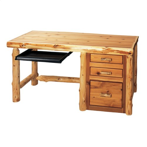 File Desk with keyboard slide - Natural Cedar - Left side file - Armor Finish