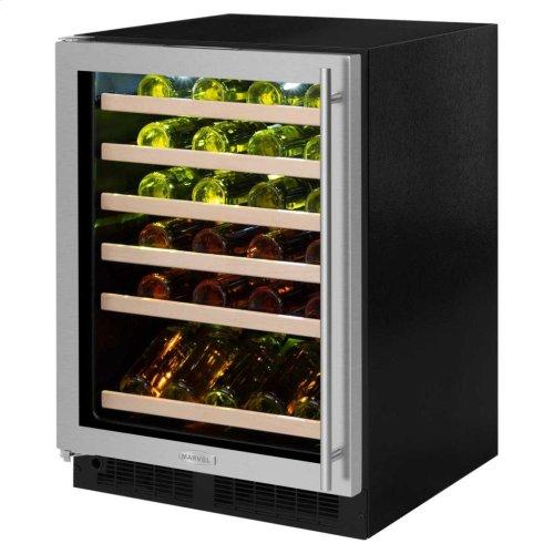 "24"" High Efficiency Single Zone Wine Cellar - Black Frame Glass Door - Right Hinge, Stainless Designer Handle"