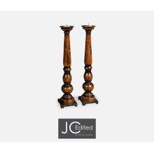 Pair of Tall Candlesticks in Rustic Walnut