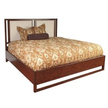 King Conte Finish Upholstered Panel Bed