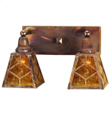 """17"""" Wide Amber Mica Diamond Mission 2 Light Wall Sconce"""