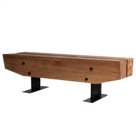 Quentin Wooden Bench Gray Iron Base, Natural