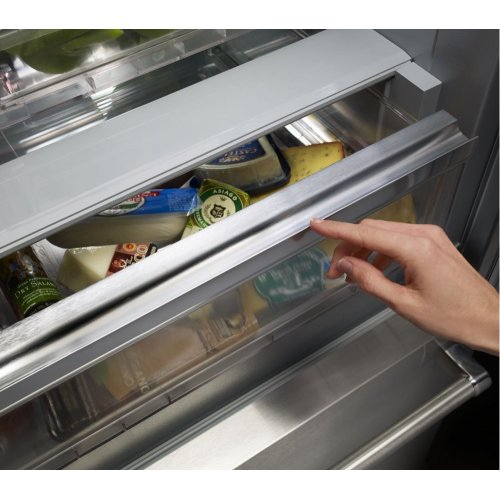 "20.8 Cu. Ft. 36"" Width Built In Stainless Steel French Door Refrigerator with Platinum Interior Design"