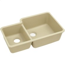"Elkay Quartz Classic 33"" x 20-11/16"" x 9"", Offset 40/60 Double Bowl Undermount Sink, Sand"