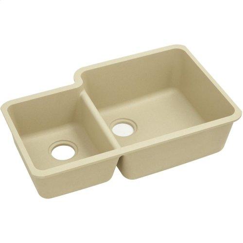 "Elkay Quartz Classic 33"" x 20-11/16"" x 9"", Offset 40/60 Double Bowl Undermount Sink, Sand"