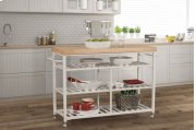 Kennon Kitchen Cart - White With Natural Wood Top Product Image