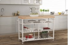 Kennon Kitchen Cart - White With Natural Wood Top