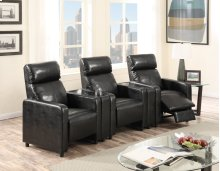 Arcadia Black Push-Back 3-Piece Reclining Theater Set