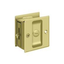 "Pocket Lock, 2 1/2""x 2 3/4"" Privacy - Polished Brass"