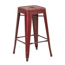 "Bristow 26"" Antique Metal Barstool, Antique Red Finish, 4 Pack"