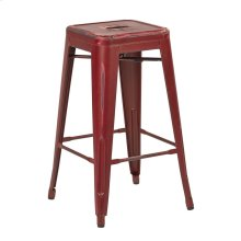 "Bristow 26"" Antique Metal Barstool, Antique Red Finish, 4 Pack"