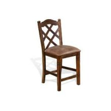 "30""H Savannah Double Crossback Barstool w/ Cushion Seat"