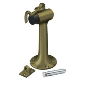 """Floor Mount, 6"""" Bumper w/ Hook & Eye, HD, Solid Brass - Antique Brass"""