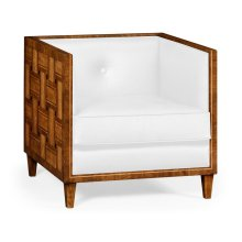 Club Chair with Woven Inlay Design, Upholstered in COM