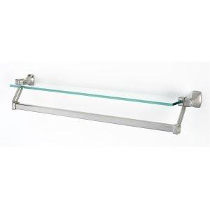 Cube Glass Shelf with Towel Bar A6527-25 - Satin Nickel