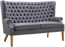 Abe Grey Linen Wing Loveseat Product Image