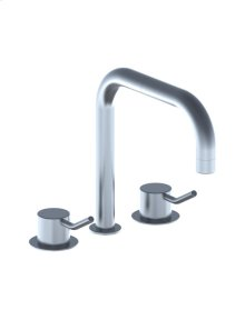 Three-hole mixer with medium lever, combination consisting of 1/4 turn ceramic stop valves S50D + S50DH, double swivel spout 090D with water saving aerator, 2 pcs - Grey