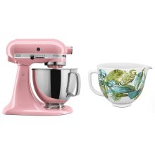 Exclusive Artisan® Series Stand Mixer & Patterned Ceramic Bowl Set - Guava Glaze
