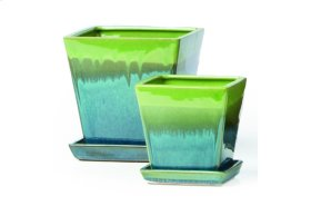 Green and Blue Franc Petits Pots with Attached Saucer - Set of 2