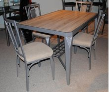 Shadow Silver Rect Table with Distressed Wood Top