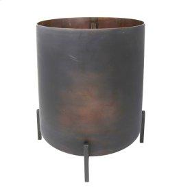 "Glass Hurricane W/ Iron Stand, 14.5"", Charcoal"