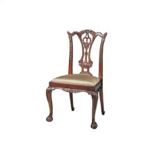 Carved Polished Mahogany Finish Chippendale Side Chair, Cabriole Leg, Neutral Uph