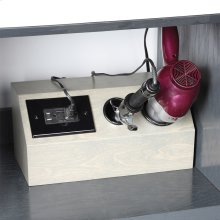 Add-on outlet box with two accessory holders, made of Baltic birch. Accessories are not included, and their fit depends on their sizes.