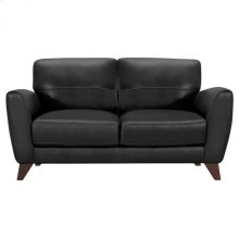 Armen Living Jedd Contemporary Loveseat in Genuine Black Leather with Brown Wood Legs