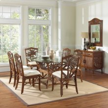 Havana Palm Indoor 7 PC Rattan & Wicker Dining Set with cushions