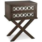 Mirrored Diamond Filigree X Base Nightstand/Table with Two Drawers #10082-WA Product Image