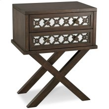 Mirrored Diamond Filigree X Base Nightstand/Table with Two Drawers #10082-WA