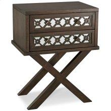 Mirrored Diamond Filigree X Base Nightstand/Table with Two Drawers #10082-WA