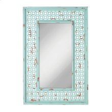 Distressed Turquoise Wall Mirror.